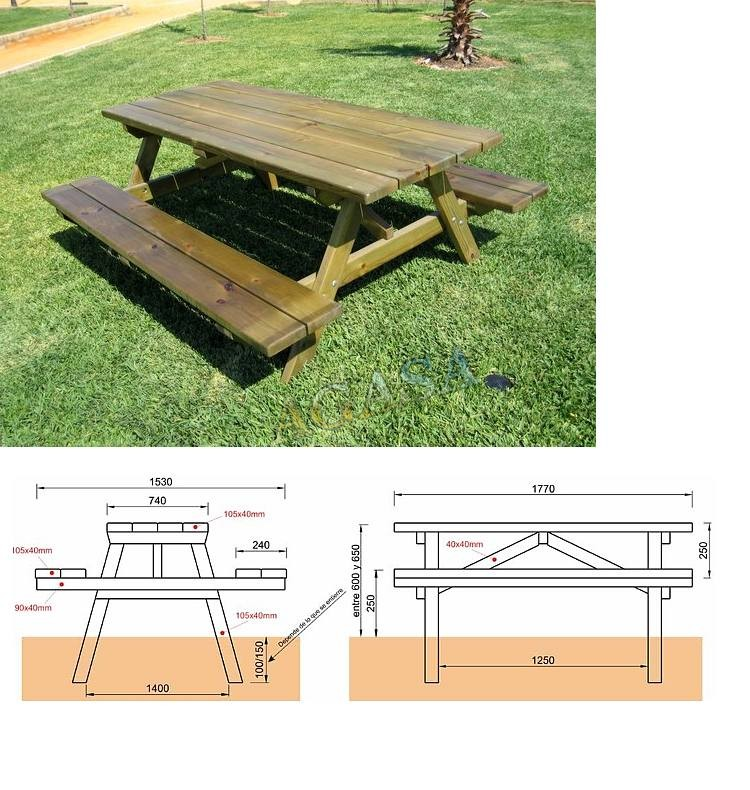 Mesas picnic columpios y accesorios mobiliario urbano y de for Mobiliario madera jardin